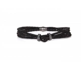 Pulsera Luca cuero negro BH029-2
