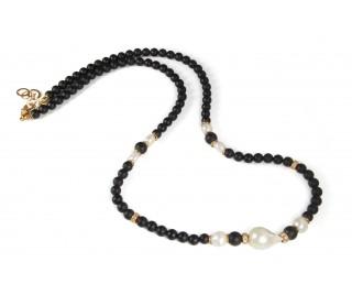 Collar Luca largo onix, perla y plata rosa