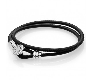 Pulsera Moments doble cuero negro