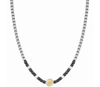 Collar Voyage Hematites Acero y Oro Rosa del Viento 022512 014