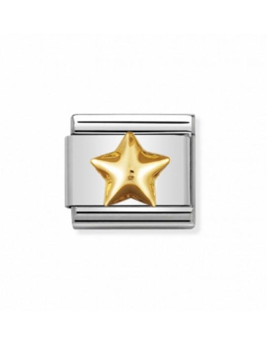 Link Estrella Abombada Acero y Oro 030110 12
