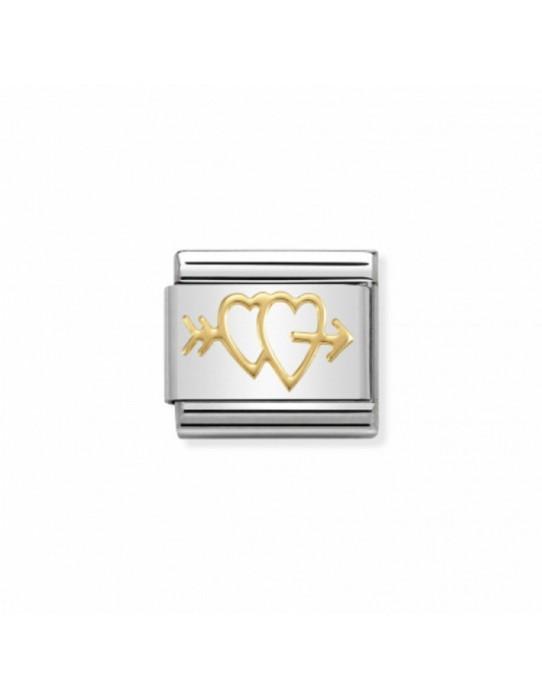 Link Acero y Oro Dobles Corazones Atravesados 030162 27