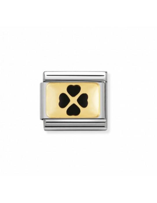 Link Acero, Oro y Esmalte Trebol Negro 030205 04