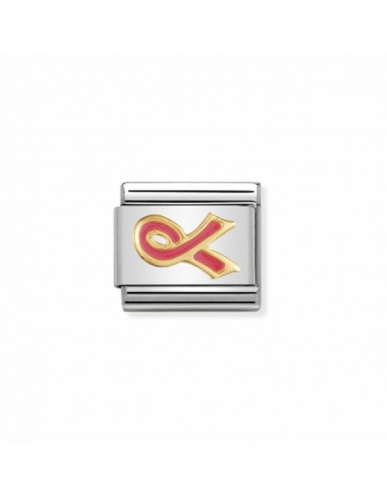 Link Acero y Oro Lazo Cancer Esmalte Rosa 030208 29