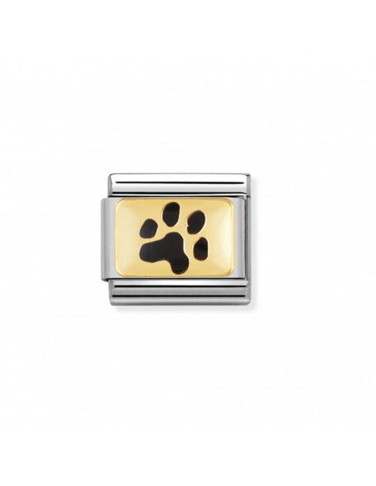 Link Acero y Oro huella de Mascota Esmalte Negro 030212 35