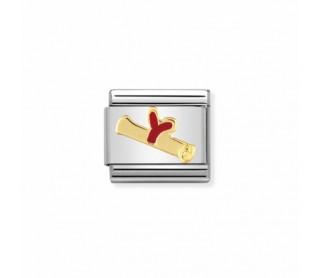 Link Acero y Oro Diploma esmalte Rojo 030212 36
