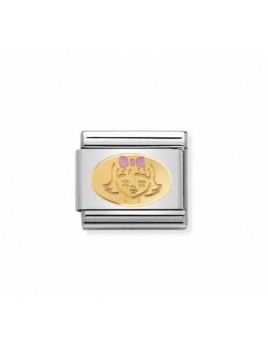 Link en Acero y Oro Niña con Esmalte Rosa 030242 35