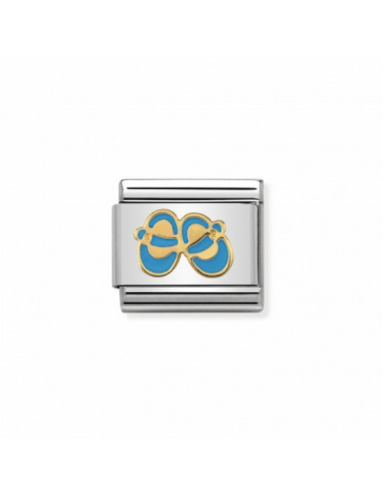 Link Acero y Oro Zapatitos de Niño Esmalte Azul 030242 38