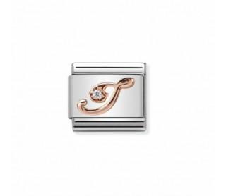 """Link Classic Letra """"I"""" Oro rosa y Circonita 430310 09"""