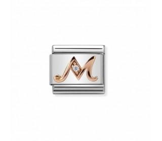 """Link Nomination Classic Letra """"M"""" Oro rosa y Circonita 430310 13"""