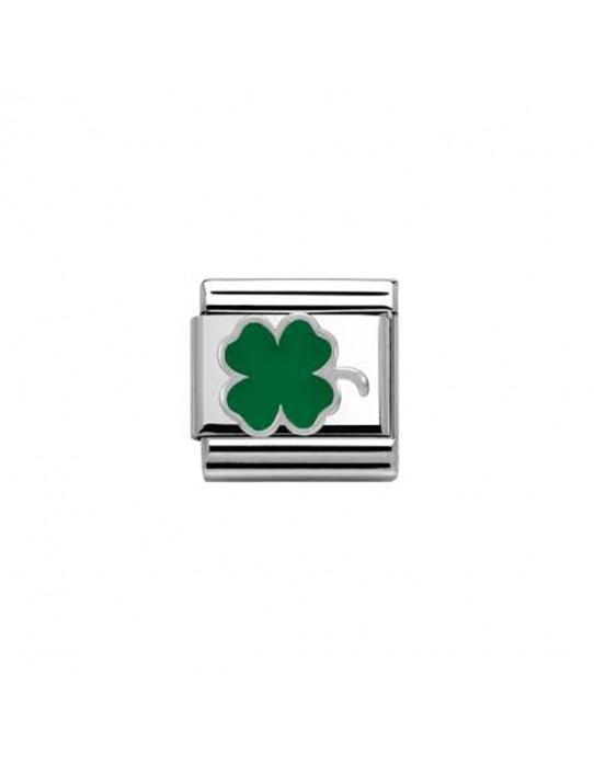 Link Nomination Acero y Plata Trebol verde 330202 12