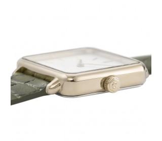 Reloj Cluse La Tétragone Dorado White/Green Alligator CL60016